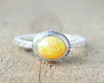 Yellow Aura Opal Stacking Ring, Size 7