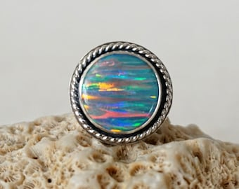 Blue Grey Aura Opal Statement Ring, Size 8 1/2