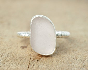 Light Lavender Sea Glass Stacking Ring, Size 7