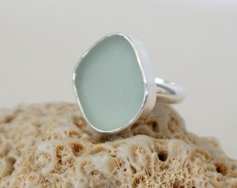 Seafoam Green Sea Glass Ring, Size 6 1/2