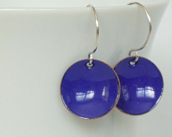Cobalt Blue Enamel Earrings