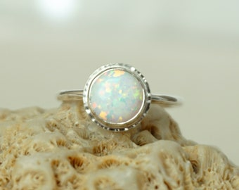 White Aura Opal Stacking Ring, Size 7 1/4