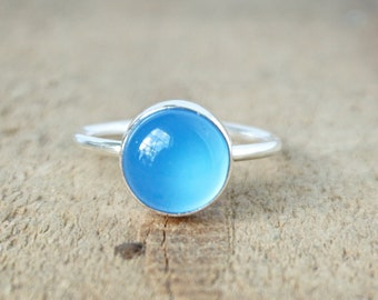 Blue Chalcedony Stacking Ring, Size 8