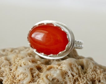 Carnelian Oval Statement Ring, Size 7 1/2
