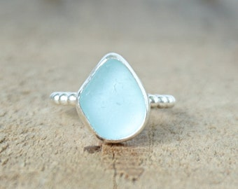 Soft Aqua Blue Sea Glass Stacking Ring, Size 6 1/2