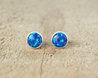 Cobalt Blue Aura Opal Stud Earrings, 6mm