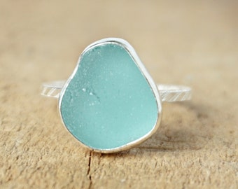 Teal Blue Green Sea Glass Stacking Ring, Size 9 1/4