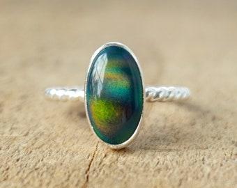 Black Nova Opal Stacking Ring, Size 7 3/4