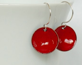 Red Enamel Disc Earrings