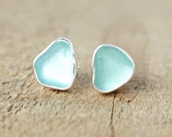 Soft Aqua Blue Sea Glass Stud Earrings