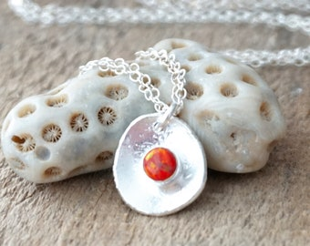 Red Aura Opal on Fine Silver Pendant