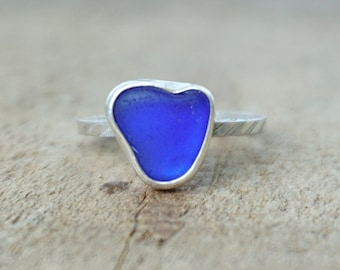 Cobalt Blue Sea Glass Stacking Ring, Size 5 1/2
