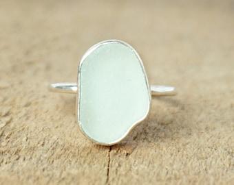 Soft Aqua Blue Sea Glass Stacking Ring, Size 9