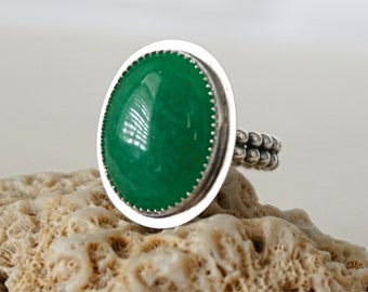 Green Calcite Oval Statement Ring, Size 9 1/2