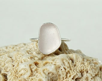 Light Lavender Sea Glass Stacking Ring, Size 8 3/4