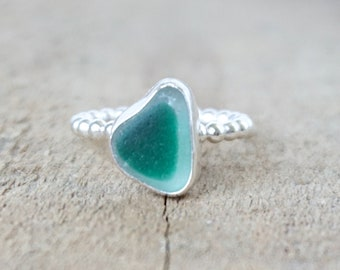 Teal Blue Green on Clear English Multi Sea Glass Stacking Ring, Size 5 1/2