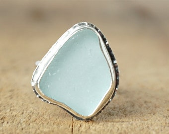 Soft Aqua Blue Sea Glass Ring, Size 6 1/2