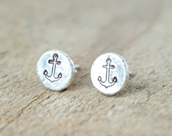 Hand Stamped Anchor on Hammered Sterling Silver Stud Earrings
