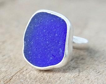 Cobalt Blue Sea Glass Ring, Size 8 3/4
