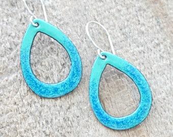 Cobalt Blue on Mint Green Enamel Teardrop Earrings