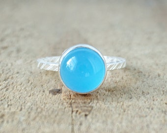 Blue Chalcedony Stacking Ring, Size 7