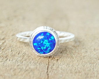 Cobalt Blue Aura Opal Stacking Ring, Size 7 1/2