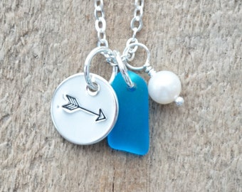 Sterling Silver Arrow with Aqua Blue Sea Glass and Pearl Pendant