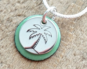 Hand Stamped Sterling Silver Palm Tree on Enamel Pendant - Choose Your Color