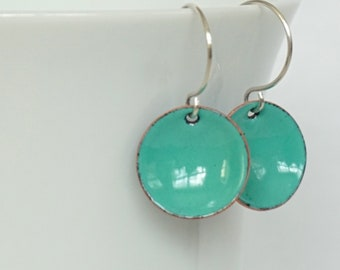Mint Green Enamel Earrings
