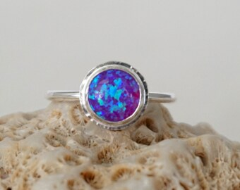 Violet Purple Aura Opal Stacking Ring, Size 7 1/2