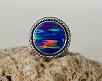 Cobalt Blue Aura Opal Statement Ring, Size 7 1/2