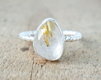 Rose Cut Golden Rutilated Quartz Stacking Ring, Size 7 1/4