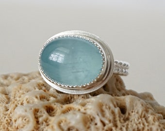Light Blue Calcite Oval Statement Ring, Size 8 1/2