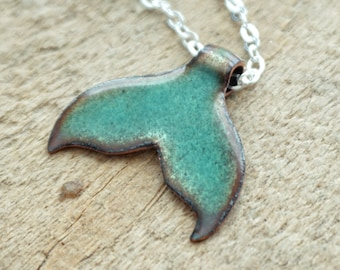 Metallic Teal Enamel Mermail Tail Necklace