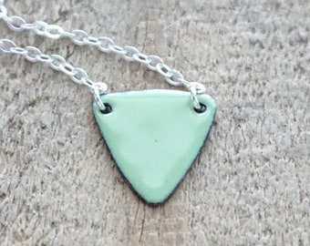 Light Green Enamel Triangle Layering Necklace