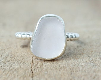 Light Lavender Sea Glass Stacking Ring, Size 8 1/2