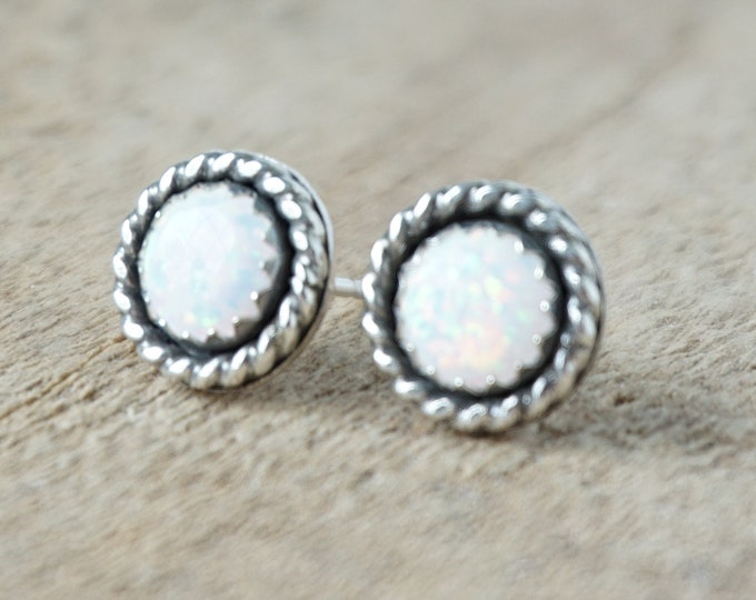 Featured listing image: White Aura Opal Stud Earrings