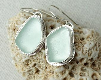 Soft Aqua Blue Sea Glass Drop Earrings