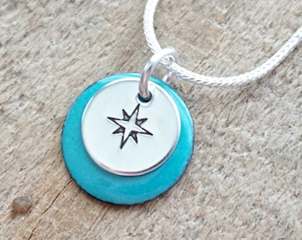 Hand Stamped Sterling Silver Compass Rose on Enamel Pendant - Choose Your Color