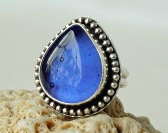 Cornflower Blue Antique Insulator/Railroad Glass Statement Ring, Size 7