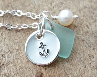 Sterling Silver Anchor with Seafoam Green Sea Glass and Pearl Pendant