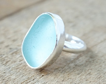 Soft Aqua Blue Sea Glass Ring, Size 6 3/4