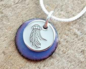 Hand Stamped Sterling Silver Jellyfish on Enamel Pendant - Choose Your Color