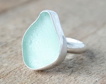 Seafoam Green Sea Glass Ring, Size 7 1/2