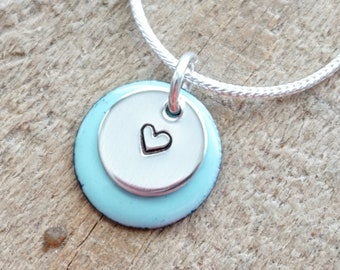 Hand Stamped Sterling Silver Heart on Enamel Pendant - Choose Your Color