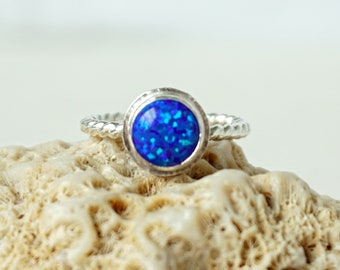 Cobalt Blue Aura Opal Stacking Ring, Size 7