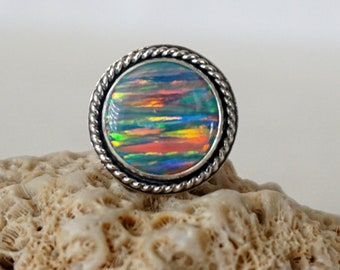 Blue Grey Aura Opal Statement Ring, Size 6 3/4