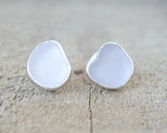 Light Lavender Sea Glass Stud Earrings