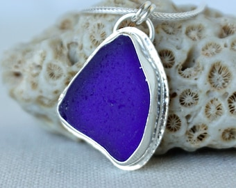 Cobalt Blue Sea Glass Pendant