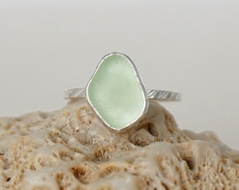 Seafoam Green Sea Glass Stacking Ring, Size 6